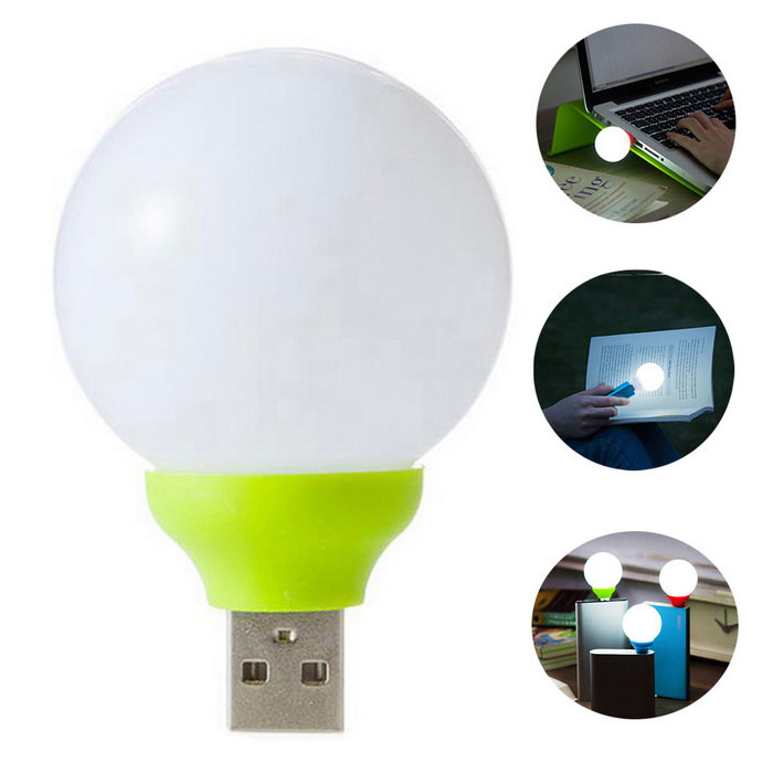 Mini Round LED USB Lamp Light Colorful Small Bright Lamp   Green