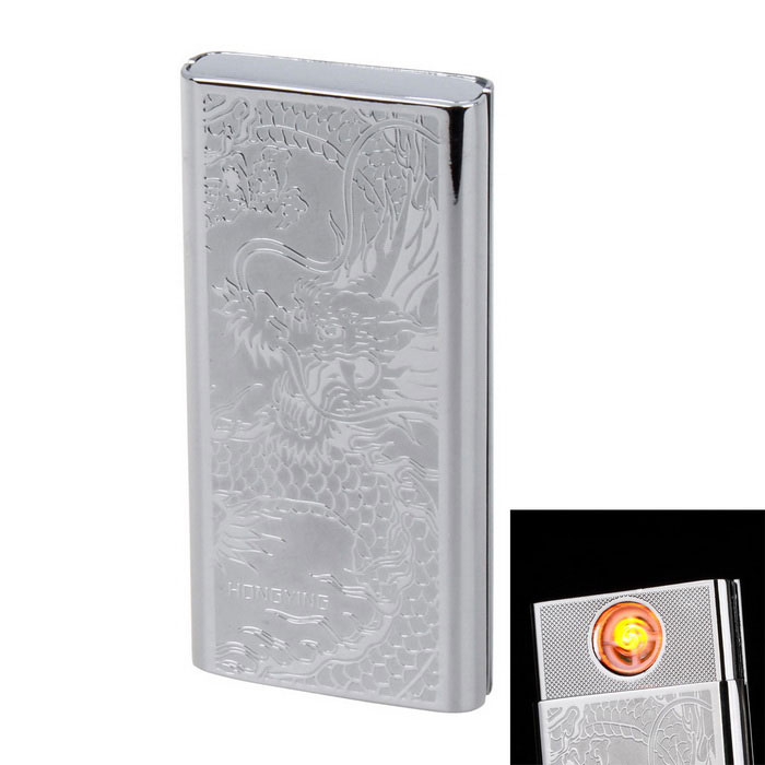 Fashion USB Rechargeable Electronic Cigarette Lighter - Silver