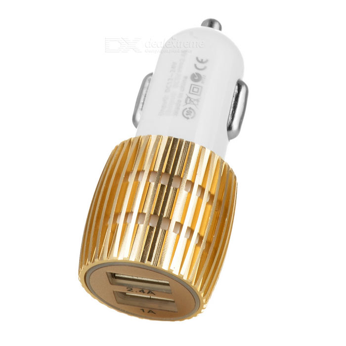 5V 2.4A / 1A Dual USB Car Charger w/ Blue Light - White + Champagne