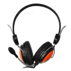 OVLENG T128T 3.5mm Wired Headband Headphone w/ Mic. - Black + Orange