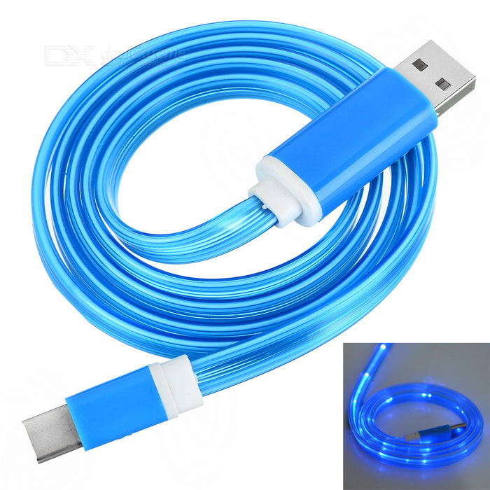 USB 3.1 Type C Data & Charging Cable w/ Blue LED - Light Blue (1m)