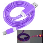 USB 2.0 to USB 3.1 Type C Data Sync & Charging Cable w/ LED Flashing Light - Purple (1m)