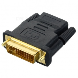 HDMI female naar DVI 24 + 5pin male adapter connector - zwart