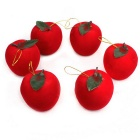 Flocking Christmas Tree Decoration Apple Ornament - Red + Green (6pcs)