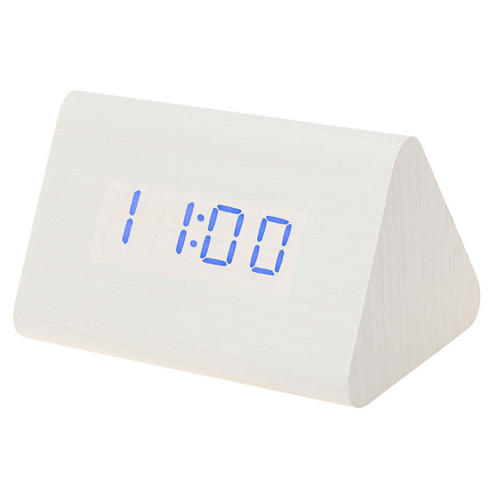 SoaringE Blue Light Triangle Wooden LED Clock w/ Alarm Clock - White