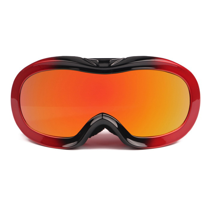 Fashion TPU Frame PC Lens UV400 Protection Anti-Fog Sport Skiing Goggles for Children - Black + Red