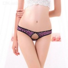Women's Sexy Leopard Print Hollow Bare Buttock Rhinestones Inlaid Lace Panties Underwear - Purple
