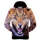 Fashionable 3D Leopard Printing Polyester Hooded Jacket Coat - Orange + Brown (Size XXL)