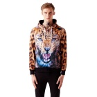 Fashionable 3D Leopard Printing Hooded Coat - Orange + Brown (XXL)