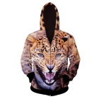 Fashionable 3D Leopard Printing Hooded Coat - Orange + Brown (L)