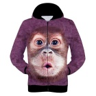 Fashionable 3D Orangutan Printing Polyester Hooded Jacket Coat - Purple Red (Size XXL)