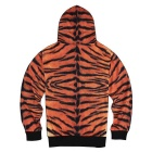 3D Tiger Printing Polyester Hooded Coat - Orange + Multi-Colored (L)