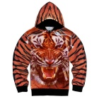 Fashionable 3D Tiger Printing Hooded Coat - Orange + Multi-Colored (M)
