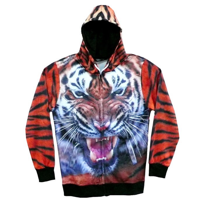 3D Tiger Printing Hooded Jacket Coat - Orange + Multi-Colored (XXL)