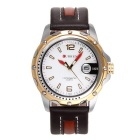 CURREN Men's Fashion Cow Split Leather Strap Calendar Waterproof Analog Quartz Watch - White + Gold