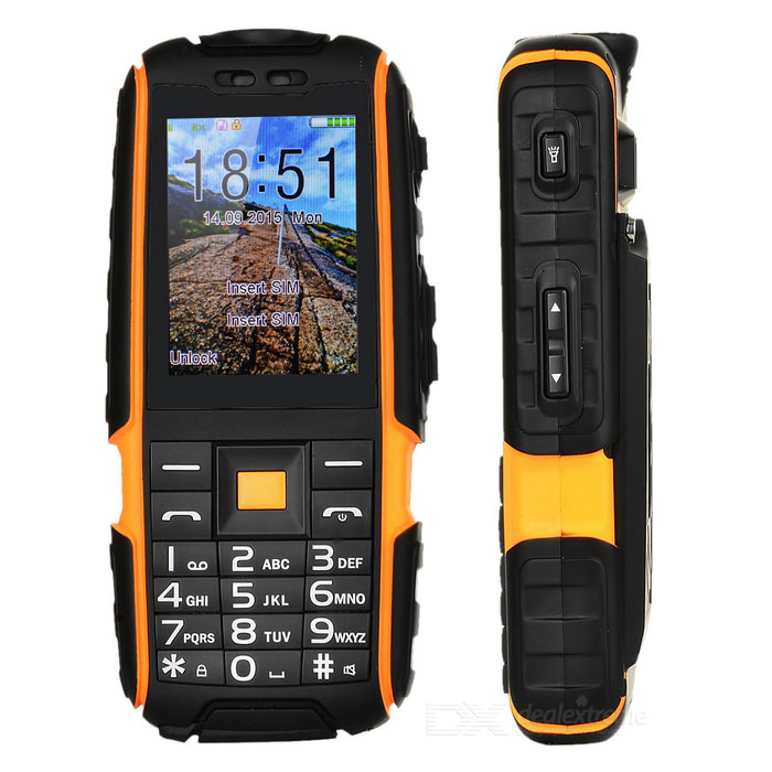 NO.1 A9 Waterproof Phone / Flashlight 32MB RAM, 32MB ROM -Black+OrangeSpecial Phones<br>Form  ColorBlack + OrangeRAM32MBROM32MBModelA9MaterialMetal + PlasticQuantity1 pieceShade Of ColorOrangeNetworkingGSM,Others,CDMA800FrequencyGSM 900/1800Data TransferGPRSSIM TypeOrdinary SIMSIM Slot2Network StandbyDual Network StandbyNetwork ConversationOne-Party Conversation OnlyGPSNoWi-FiNot supportTypeBrand NewOperating SystemN/ACPU Core QuantityOthers,NOCPU ProcessorMTK6261<br>260 mHzGraphics ProcessorNOLanguageEnglish,German, Spanish, Italian, French, Portuguese, Russian,TurkishTime of Release2015-11-23Available MemoryNOMemory CardSupport 8GB TF cardScreen Size2.4 inchSize Range3.9 inches &amp; UnderTouch Screen TypeNoScreen Resolution240*320Main Camera Lens Features80KPSecondary Camera LensNOVideo Recording ResolutionNOAuto FocusNot SupportFlashNoTouch FocusNoBattery Capacity4800 mAhBattery TypeLi-polymer batteryTalk Time8 hourStandby Time300 hourWorking Time24 hourBluetooth VersionBluetooth V2.0TVNoRadio TunerYesDust-proof LevelYesShock-proof LevelYesWaterproof LevelOthers,IP67SensorNoI/O InterfaceMicro USB,SIM SlotFormat SupportedMP3SoftwareMountain climbing recorder, Radio, Charging treasure, Stereo soundClock, calendar, photo albums, sound recording, calculator, text messagesCertificationCEOther Features2.4 inch colorful screen<br>IP67 Waterproof Rugged phone <br>4800mAh Battery Large capacity<br>Dual SIM<br>Super Flashlight<br>Mountaineer Recorder<br>Strong Signal &amp; Low-EReference Websites== Will this mobile phone work with a certain mobile carrier of yours? ==Packing List1 x Smartphone1 x Battery1 x 95cm USB Cable1 x English manual1 x Screwdriver<br>