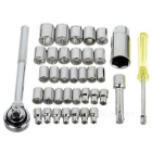 "Car Motorcycle 3/8"" & 1/4"" Sockets + Ratchet Wrench Repair Kit - Grey"