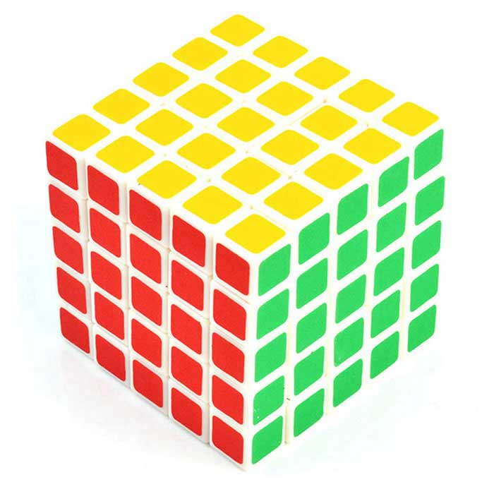 65mm 5 * 5 * 5 matte pegatinas cubo de rubik mágico - blanco + multi-color