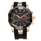 CURREN 8163 Silicone Strap Analog Quartz Watch - Rose Golden + Black