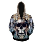 Fashionable 3D Skull Printing Hooded Coat - Yellow + Multi-Colored (M)