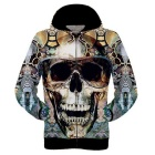 Fashionable 3D Skull Printing Polyester Hooded Jacket Coat - Yellow + Multi-Color (Size XXL)