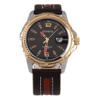 CURREN Men's Fashion Cow Split Leather Strap Calendar Waterproof Analog Quartz Watch - Black + Gold