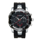 CURREN 8163 Men's Silicone Strap Analog Quartz Watch - Black