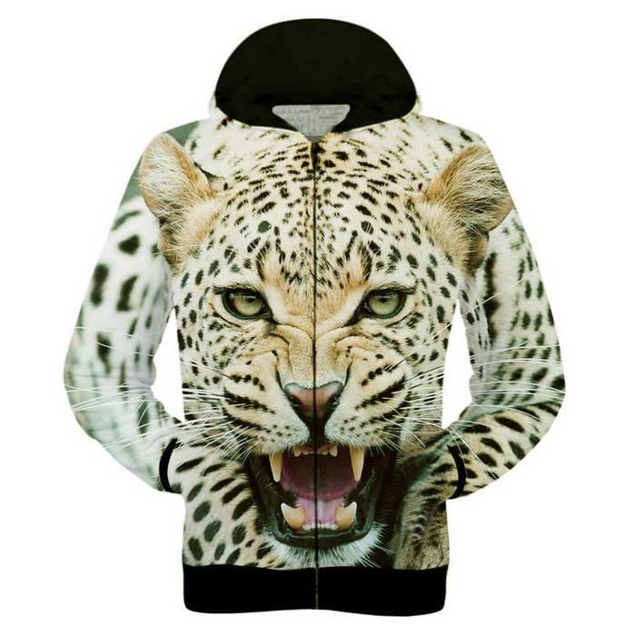 Fashionable 3D Leopard Printing Hooded Jacket Coat - Yellow (M)