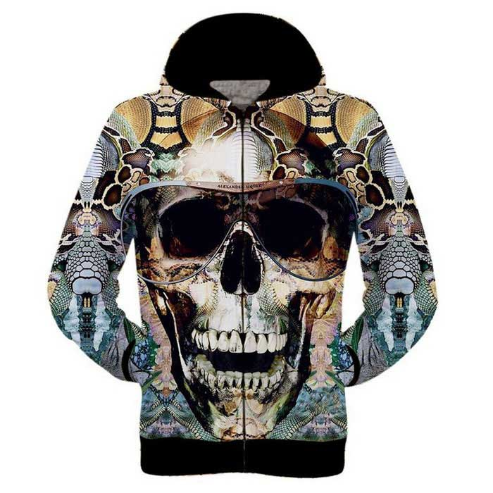 3D Skull Printing Hooded Jacket Coat - Yellow + Multi-Colored (L)