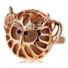 Xinguang Women's Trendy Crystals Inlaid Hollowed Ring - Rose Gold (US Size 9)