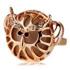 Xinguang Women's Trendy Crystals Inlaid Hollowed Ring - Rose Gold (US Size 7)