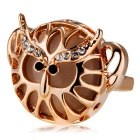 Xinguang Women's Trendy Crystals Inlaid Hollowed Ring - Rose Gold (US Size 6)