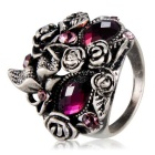 Xinguang Women's Purple Crystals Inlaid Mask Shape Ancient Ring - Silver (US Size 7)