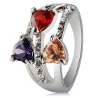 Xinguang Women's Three Heart Shaped Zircon Decorated Alloy Finger Ring - Silver (US Size 6)