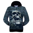 Fashionable 3D Skull Printing Hooded Coat - Navy Blue + Black (L)