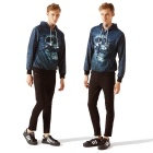 Fashionable 3D Skull Printing Hooded Coat - Navy Blue + Black (XXL)