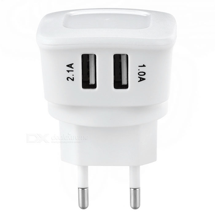 ES-D05 5V 2.1A 2-USB AC Charger for IPHONE + More - White (EU Plug)