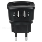 ES-D05 5V 2.1A 2-USB Charger AC para iPhone 6 / 6S, Samsung, Xiaomi, Tablet PC, Camera - Black (Plug UE)