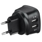 ES-D05 5V 2.1A 2-USB Cargador de CA para IPHONE + more - negro (enchufe eu)