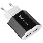 ES-D10 5V 2.4A 2-USB AC Charger for Phone, Tablet PC, Camera, MP3 / MP4 - White + Black (EU Plug)