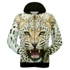 Fashionable 3D Leopard Printing Fiber Hooded Jacket Coat - Yellow (L)