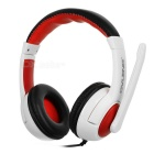 OVLENG Q10 USB 2.0 Wired Headband Headphone Headset w/ Mic & Wire Control - White + Red