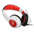 OVLENG Q10 USB Headband Headphone w/ Mic, Wire Control - White + Red
