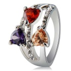 Xinguang Women's Three Heart Shaped Zircon Decorated Alloy Finger Ring - Silver (US Size 7)