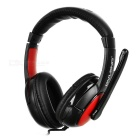 OVLENG 3.5mm Wired Headband Headphone Headset w/ Microphone & Wire Control - Black + Red