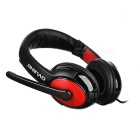 OVLENG 3.5mm Headband Headphone w/ Mic, Wire Control - Black + Red