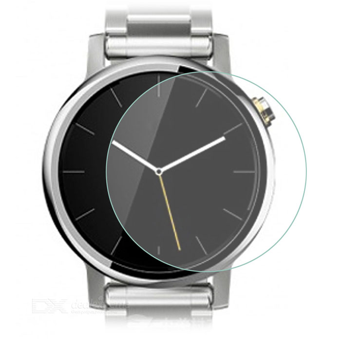 Scratch-proof Tempered Glass Screen Protector for MOTO 360 2 46mmWearable Device Accessories<br>Form  ColorTransparentQuantity1 DX.PCM.Model.AttributeModel.UnitMaterial9H tempered glassPacking List1 x Screen ptotector1 x Dust sticker1 x Wet cloth1 x Dry cloth<br>