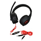 SENICC 3.5mm Wired Headband Headphone w/ Mic for Gaming - Black + Red
