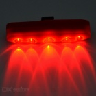 Waterproof 7-Mode 5-LED Red Light Bike Bar Light Taillight - Red