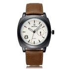 SKONE Men's Glow-in-the-Dark PU Leather Wristband Analog Quartz Watch - Coffee + White (1 x S377)